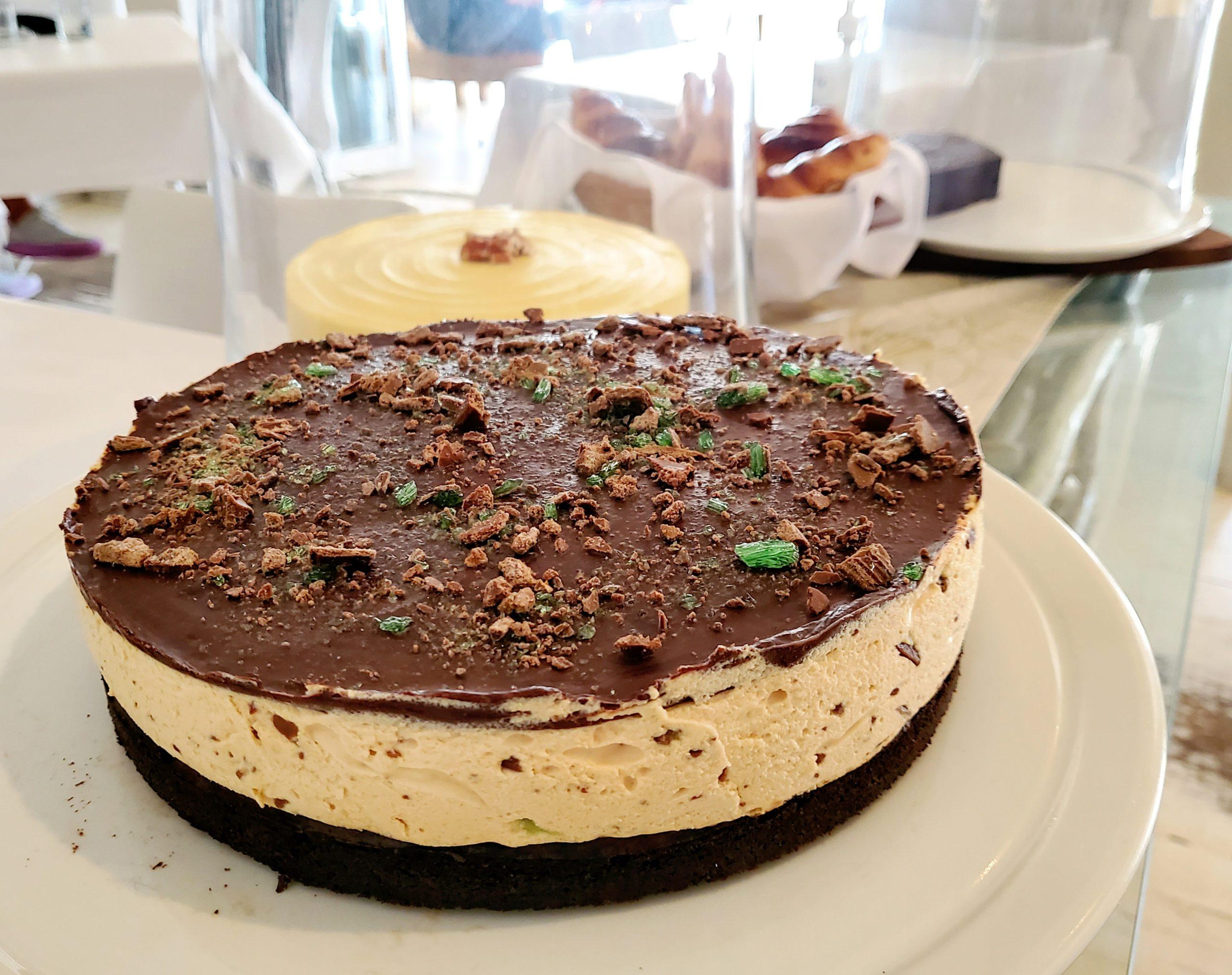 Peppermint crisp brownie tart